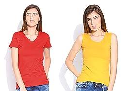 Happy Hippie Women's Combo T-shirt Red-Yellow