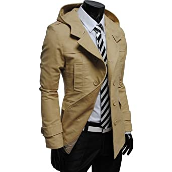 TheLees Mens casual double slim cotton hood trench coat at Amazon Men