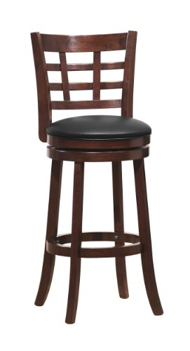 Homelegance 1142E-29S Swivel Pub Height Chair/Stool, Dark Cherry front-1004870