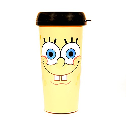 Silver Buffalo SpongeBob BPA-Free Plastic Travel Mug, 16 oz, Yellow - 1