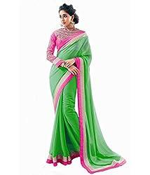 Z Hot Fashion Women's Printed Border work Saree In Chiffon Fabric (ZHKN1028) ...