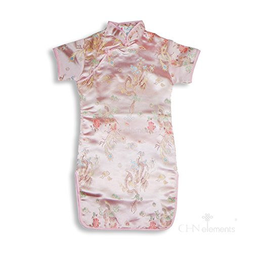 CHN Elements.clothing.kids - Abito - Stampa animalier - Maniche corte  - ragazza light pink w/dragon & phoenix pattern 4-5Y