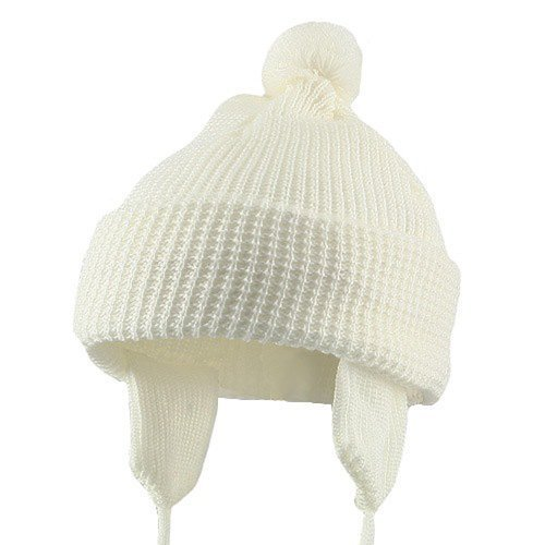 Toddler Beanie Hat with Ear Flaps - White W20S11C