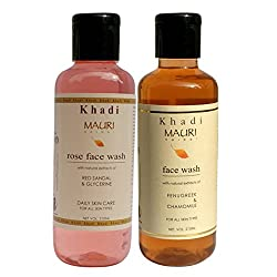 Khadi Mauri Ayurvedic Herbal Face Wash Combo Pack of 2 Rose & Fenugreek (Methi) Natural & Organic 210 ml each