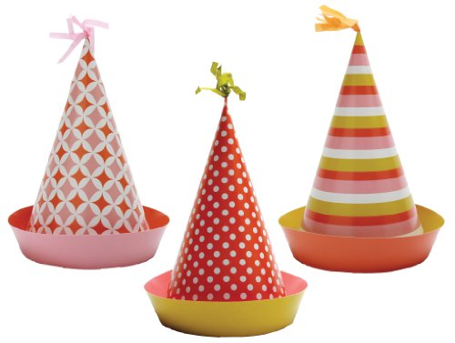 Party Partners Design Retro Sweet Soiree Themed Hats, Pink/Orange, 6 Count