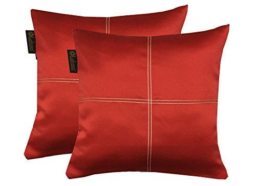 Lushomes Red Blackout Cushion Cover with Artistic Stitch