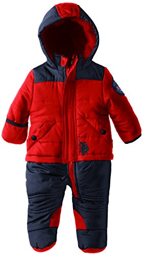 Us Polo Association Baby-Boys Newborn Color Block Puffer Bunting Snowsuit, Red, 6-9 Months