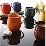 Multi Color Spiral Ceramic Tea Cups / Coffee Mugs - Set Of 6