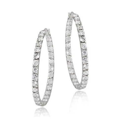 C.Z. Inside And Outside Prongs Set Hoop Rhodium Plated (.925) S/S Earring (Nice Holiday Gift, Special Black Firday Sale)