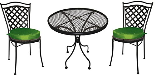 DC America ICB168 3-Piece Charleston Wrought Iron Ice Cream Set with One Table and Two Chairs with 2 Green Cushions