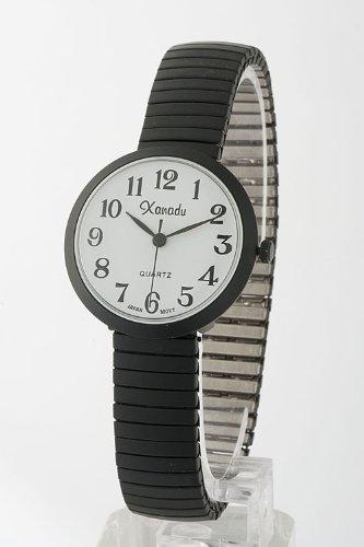 Contempo Couture Round Case Stretch Watch (White)