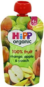 HiPP Organic From 4 Months Mango Apple and Peach Fruit Pouch 100 g (Pack of 2, Total 10 Pouches)