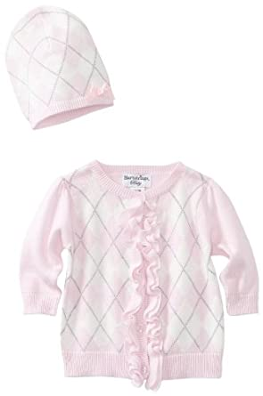 Hartstrings Baby-girls Newborn Argyle Cardigan Sweater And Hat Two Piece Set, Pink Lilac, 12 Months