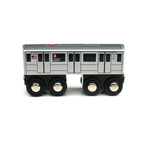 .com: Munipals Wooden Railway NYC Subway Car 3 Train: Toys & Games