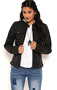 Deb Junior Perforated Faux Leather Jacket with Removable Knit Hood Black X-Large