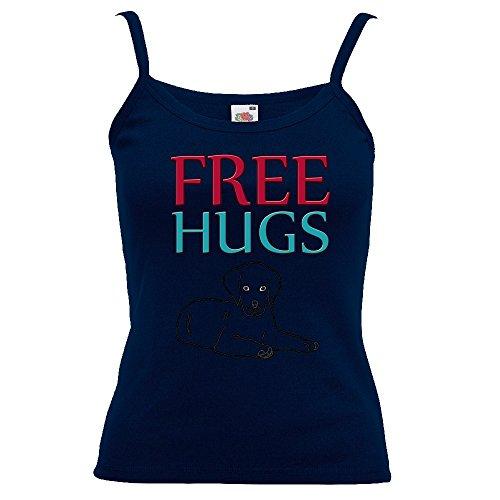 Divertente 058, Free Hugs, Blu Notte Fruit of the Loom Women Strap Tee Cotone Top e Canotte Spalline Donna con Design Colorato. Taglia XS.