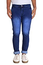 Bdow Men's denim slim fit strecheable jeans ( Blue ) (Dark Blue, 32)