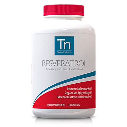 Trusted Nutrients 100% Pure Resveratrol, 180 Count, 1000 Mg Per Serving, Special Anti-Aging Blend, Gmo Free
