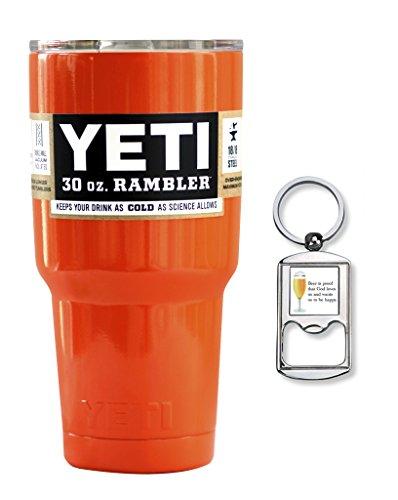 Yeti Custom Powder Coated Stainless Steel 30 oz Rambler Tumbler with Lid and Free Bottle Opener Keychain (Orange)