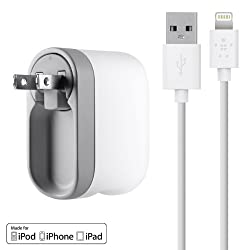 Belkin Swivel Wall Charger with Lightning Cable for iPhone 5 / 5S, iPad 4th Gen, iPad mini, iPod touch 5th Gen, and iPod nano 7th Gen (2.1 Amp / 10 Watt)