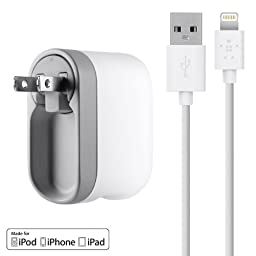 Belkin USB Swivel Home and Wall Charger with Lightning Cable for iPhone 7 / 7 Plus, iPhone 6S / 6S Plus, iPhone 6 / 6 Plus, iPhone 5 / 5S, iPad Pro, iPad 4th Gen, iPad mini 4, iPad mini 3, iPad mini 2, iPad mini, iPod touch 5th Gen, and iPod nano 7th Gen