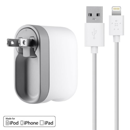 Belkin USB Swivel Wall Charger with Lightning Cable for iPhone 6 / 6 Plus, 5 / 5S, iPad 4th Gen, iPad mini, iPod touch 5th Gen, and iPod nano 7th Gen (2.1 Amp / 10 Watt) Image