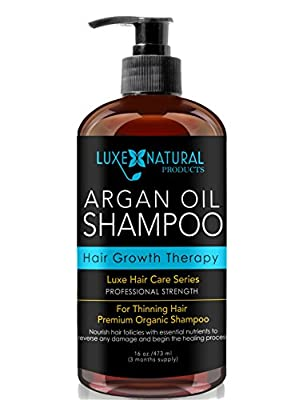 Luxe Natural Products Argan Oil Shampoo Professional Strength - Hair Growth Therapy 16 oz - Hair Loss, Regrowth, Thinning, & Aging - Infused With All Natural for Both Men & Women - 3 Months Supply