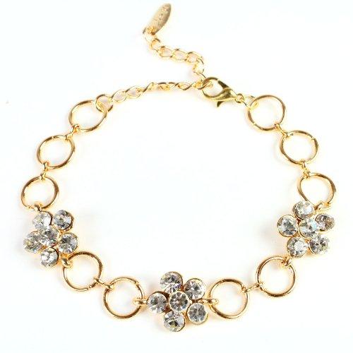 Fashionwu New Fashion Ladies' 3 Plum Blossom With Rhinestone Gold Plated Chain Bracelet