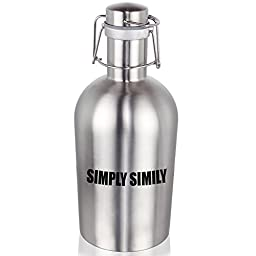 Swing Top Stainless Steel Beer Growler, 67 Oz