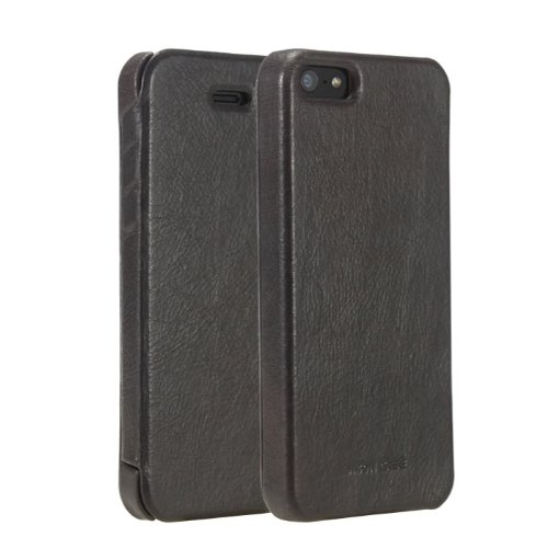 Best Price Jisoncase JS-IP5-03A10 Vintage Genuine Leather Folio Case for iPhone 5 - Retail Packaging - Black