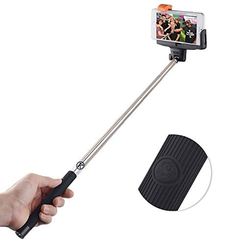 Selfie Stick (SUPERIOR QUALITY), by Konneh. A Self-portrait Monopod, Extendable & Handheld Wireless pole with built-in Bluetooth Remote Shutter for use with iPhone 6, iPhone 6 Plus, iPhone 5 5s 5c, Samsung Galaxy S6 S5, Androids & other Smartphones with a 180 degree Adjustable Phone Holder to enhance your photography experience - BLACK.