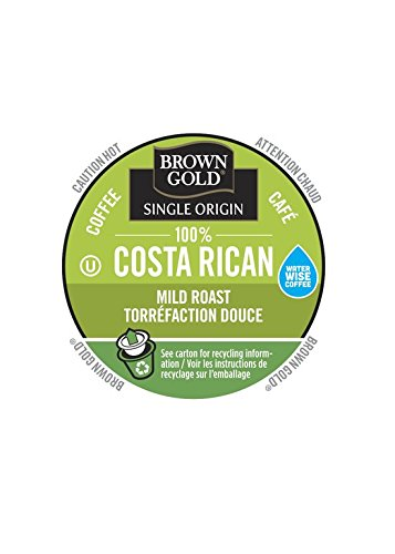 Brown Gold 100% Costa Rican Coffee Capsules, 48-Count Package compatible with Keurig K-Cup Brewers