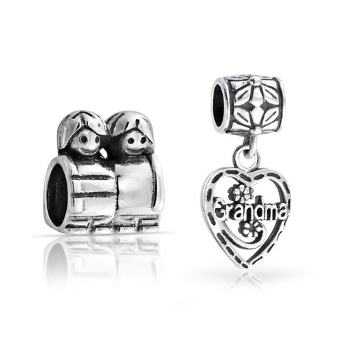 Bling Jewelry 925 Silver Grandma Heart Dangle