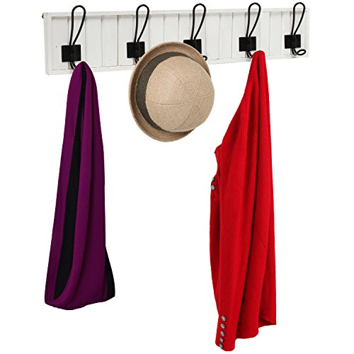 Decorative Wall Mounted White Wood & 5 Black Metal Dual Coat Hooks Entryway Rack / Bathroom Towel Hanger