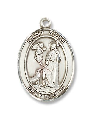 St. Roch Sterling Silver Medal with 18