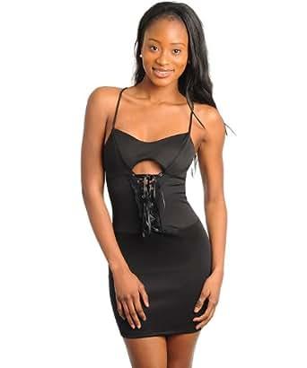 G2 Fashion Square Women's Sweetheart Lace Up Bustier Dress(DRS-EVP,BLK-S)
