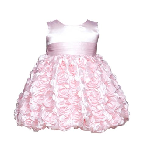 Rosie Girls Party Dress With Rolled Satin Flowers For Infants Fancy Dress Color: Pink Dress Size: 24M (24 Months) front-985223