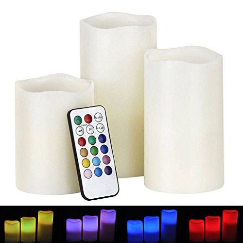 Noza Tec Weatherproof Outdoor & Indoor 12 Color Changing Flameless Led Candles with Remote Control & Timer, Set of 3 for Christmas,Parties,Gifts