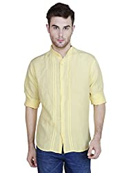 Showoff Men's Full Sleeves Slim fit Yellow Solid Casual Shirt