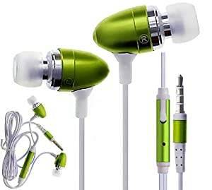 CellBig Glorious Green In Ear Audio Stereo Headphones Earphone Headset Hands Free Included Mic In-Line Remote Light weight For Your Apple iPhone 2 / 3G / 3GS / 4 / 4G / 4S / 5 / 5S / 5C