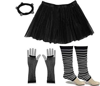 A-Express® Neon Tutu Skirt Legwarmer Fishnet Gloves Hen Fancy Dress Party Costumes Set