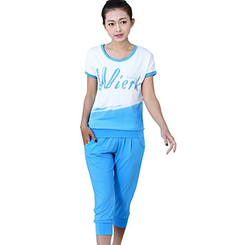TLZC Women's Contrast Color Tops + Capris Sport Set