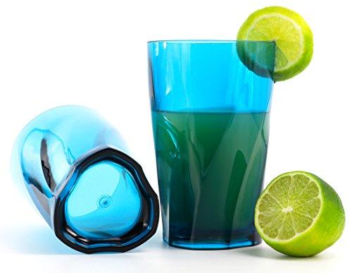 Kreate 14 oz Acrylic Cocktail Glasses - Set of 4 - Triangular Vortex Break-Resistant Plastic - Aqua Blue Highball Tumblers - BPA Free (Drink Ware Made Of Plastic compare prices)