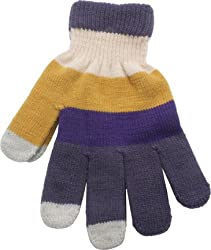 True Gear MultiColored Touch Texting Gloves (Purple/Gold/Grey)