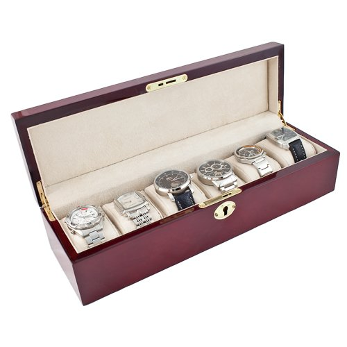 Caddy Bay Collection Glossy Rosewood Finish Watch Case Display Storage Box Chest With Solid Top Holds 6 Large Watches