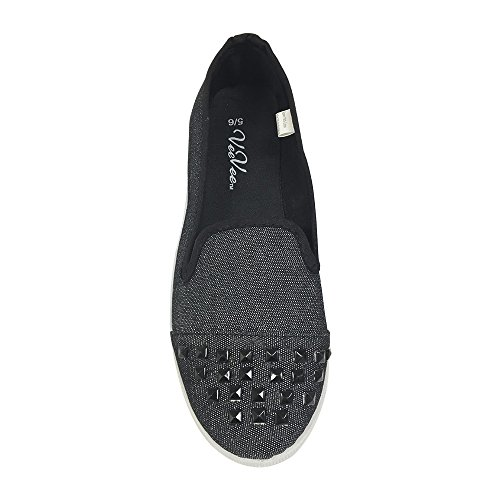 Womens Denim Slip on Flats with Canvas Toe Cap and Matching Pyramid Studs - Black Large
