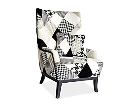 "'Design poltrona ""Queen patchwork Black & White"