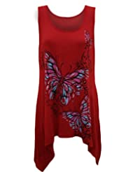 Ladies Plus Size Butterfly Print Hanky Hem Sleeveless Long Womens Top ...