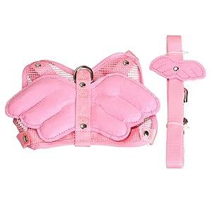 Vktech Pink Adjustable Angle Wing Rabbit Ferret Pig Harness Leash Lead Strap Nylon