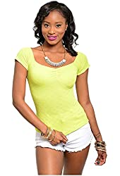 G2 Chic Women's Off-Shoulder Wide Neck Stretchy Knit T-Shirt Top